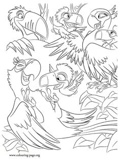 Jewel Blu Rafael And The Toucan Puppies Are Having Fun Come Check Out This Awesome Rio Movie Coloring Page