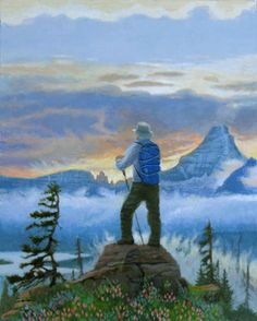 Backpacking #acrylic-on-panel #art #backpack #backpacking #clouds #enviromentalart #glacier #hiking #landscape #light #magazine #man #montana #monte-dolack #mountains #national-park #original-painting #outloors #painting #river #rocky-mountains #sky #tree #water #wildflowers