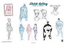 Sketch pages  of style Bruce Timm by celaoxxx.deviantart.com