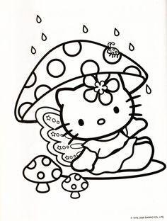 Kleurplaat Hello Kitty paddenstoel