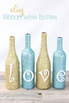 Wine Bottle Crafts are the best! This tutorial shows you how make diy glittery, sparkly wine bottles with ribbon and wood letters. Easy and pretty!