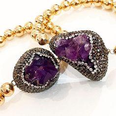 Bracelet By Vila Veloni Purple Amazing Exotic Gemstone With Small Pellets