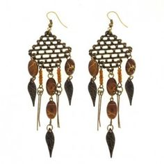 Brass Tone and Brown Bead Chandelier Earrings