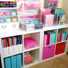 Kids room diy organization house ideas for 2019 Craft Room Storage, Office Organization, Organizing Ideas, Storage Ideas, Diy Storage, Bedroom Storage, Craft Rooms, Craft Room Shelves, Scrapbook Room Organization