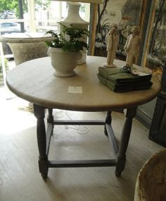 Marston Luce Antiques - 19th Century Belgian Round Table with Bleached Top and painted base