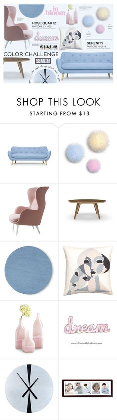 """""""Pink and Blue"""" by katarina-blagojevic ❤ liked on Polyvore featuring interior, interiors, interior design, dom, home decor, interior decorating, Cherner Chair Company, JCPenney Home, Cyan Design i Nova Lighting"""