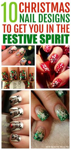 Here's a curated list of 10 holiday nail art design tutorials! They're festive and super fun to do this Christmas. Hot Beauty Health blog #nailart #holidaynailart