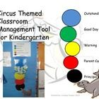 Circus Themed Classroom Management Tool for Kindergarten  Directions: •Laminate the colors, cut out, and attach to a white board. Write students na...