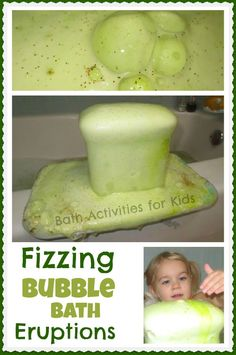 Bath Time eruptions made from bubble bath- so FUN!  Several other bathtime experiments that look easy and fun too!