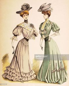 A French vintage fashion illustration featuring two stylish ladies wearing day dresses and hats with plumes and feathers, published in Paris, circa October Get premium, high resolution news photos at Getty Images 1900s Fashion, 19th Century Fashion, Edwardian Fashion, Vintage Fashion, Edwardian Dress, Edwardian Era, Victorian, Fashion Illustration Vintage, Marie Antoinette