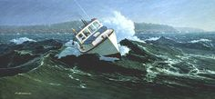 """'Caught In The Surge Off Great Wass', Alkyd. This small 6"""" X 13 1/2"""" painting was chosen for the 2001 """"Art of the Sea"""" calendar by the National Maritime Historical Society.  It is actually one of a pair, however, the two paintings were sold separatelyand at different times. Once again, it depicts a Jonesport lobsterboat in a rough sea off the Maine Coast...in this case, Greater Wass Island near Beal's Island, Maine. #storm #sea #maine #woodenboat"""