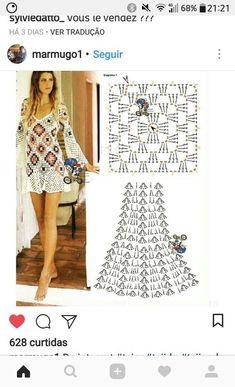 Crochet Beach Dress, Crochet Summer Dresses, Black Crochet Dress, Crochet Skirts, Crochet Blouse, Crochet Poncho, Crochet Clothes, Crochet Lace, Crochet Stitches