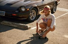"""Glamour France - Mai-Juin 2016-02 This classic Cali babe model knows the power of a well-wrapped bandana and beach waves, skateboarding to stay to stay fit. With a """"devil may care """" attitude and a steely-eye stare to match, McGinty's look is a complete dream."""