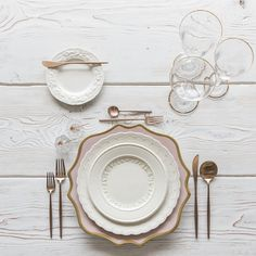 RENT: Anna Weatherley Chargers in Desert Rose/Gold White Collection Vintage China Moon Flatware in Brushed Rose Gold Chloe 24k Gold Rimmed Stemware Bella 24k Gold Rimmed Stemware Antique Crystal Salt Cellars Tiny Gold/Copper Spoons SHOP: