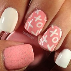 Whether you plan to go out for romantic dinner or stay in for a movie marathon, celebrate the season of love with these Valentine's Day nail art ideas. These designs are sure to make you swoon. day nails xoxo 17 Valentine's Day Nail Art Designs We Love Cute Pink Nails, Fancy Nails, Love Nails, How To Do Nails, Pretty Nails, My Nails, White Nails, Romantic Nails, Valentine Nail Art