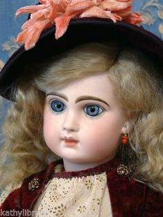 """Angel-Faced 22"""" Tete Jumeau BEBE in wonderful Antique Bebe Frock—Perfect Bisque"""