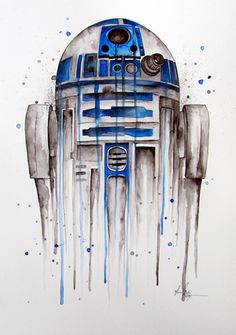 R2-D2 Abstract watercolor painting / watercolour by www.fiona-clarke.com