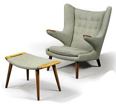 Mid Century Wegner Papa Bear Chair and Ottoman