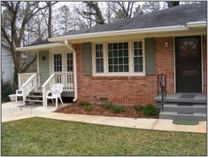 Brick Ranch Colors: The Siding Is Ben Mooreu0027s Louisburg Green The Trim Was  The Existing · Orange Brick HousesRed ...