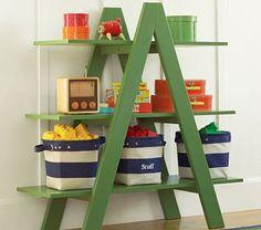 old ladder - upcycling Old Wooden Ladders, Old Ladder, Small Ladder, Diy Nursery Decor, Diy Room Decor, Organizing Kids Books, Toy Room Organization, Childrens Book Shelves, Diy Regal