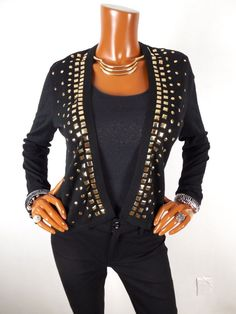 AUGUST SILK Womens Top M Black Holiday Cardigan Blouse Casual Shirt Long Sleeve #AugustSilk #Blouse #Casual
