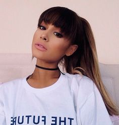 Ariana Grande Hair Bangs are in. A look at Celebs with New Hair Styles - Summer 2017 Ariana Grande Make Up, Ariana Grande Fotos, Ariana Grande Bangs, Ariana Grande Style 2017, Ariana Grande Fringe, Ariana Grande Hairstyles, Ariana Grande Maquillaje, Ariana Grande Makeup Tutorial, Barba Grande