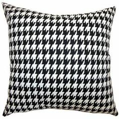 """Cotton pillow with a houndstooth motif. Made in Boston, Massachusetts.     Product: PillowConstruction Material: Cotton cover and down fillColor: Black and whiteFeatures:  Insert includedHidden zipper closureMade in the USA Dimensions: 18"""" x 18"""""""