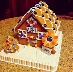 Gingerbread sorority house. TSM.