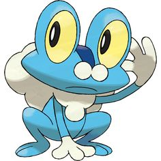 Froakie - 656 - It secretes flexible bubbles from its chest and back. The bubbles reduce the damage it would otherwise take when attacked. It protects its skin by covering its body in delicate bubbles. Beneath its happy-go-lucky air, it keeps a watchful eye on its surroundings.