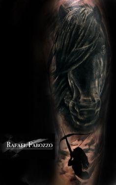 Black Horse Sagittario Tattoo by Rafael Fabozzo Eagle Tattoos, Color Tattoo, Horses, Portrait, Movie Posters, Colors, Art, Black, Art Background