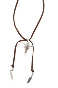 Halskette-Band-Leder-Trend-034-BUFFEL-KOPF-034-Metall-lang-ca-75cm