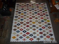 """One of Karen's quilts.  She wrote: """"my hexie quilt I named """"Diamonds are Forever"""" I will put a border on it still and hope to finish the top this year"""" (pinned by haw-creek.com)"""