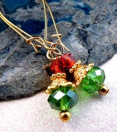 Christmas Earrings Christmas Jewelry Beaded Earrings Crystal Earrings Beaded Jewelry Crystal Jewelry Holiday Jewelry Gold Jewelry. $7.00, via Etsy.