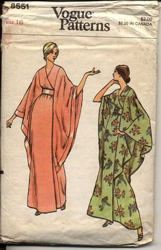 Vogue 8551 Misses Kimono Wrap Robe Bat Wing Cape Sleeves 1970s Womens Vintage Sewing Pattern Bust 38