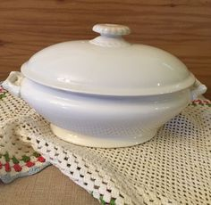 Ironstone Covered Dish | Vintage Serving Piece | Unknown Maker | White China | Collectible China | Holiday Meal | Mother's Day | Porcelain by PineStreetPickers on Etsy