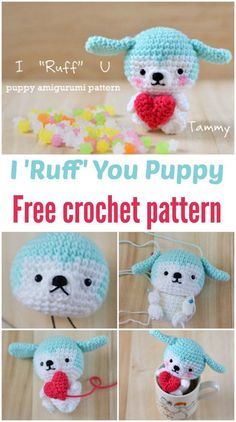 Free cute puppy dog amigurumi crochet pattern.  Give him a heart to hold and he's the perfect 'I Ruff You' gift.