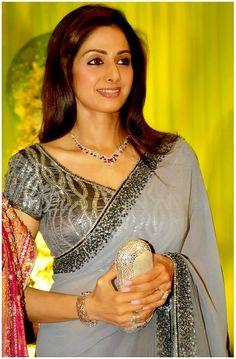 Sreedevi in Gray Designer Sequin Saree Chiffon Saree, Saree Dress, Ethnic Fashion, Indian Fashion, Indian Dresses, Indian Outfits, Party Sarees, Saree Look, Elegant Saree