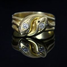Antique Victorian Snake Diamond Ring - Dated 1886 - 18ct Gold