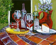 Items similar to Red Wine Cafe Huge Contemporary Modern Original Fine Art Painting DAN BYL on Etsy Original Art, Original Paintings, Sell My Art, Art Store, Large Art, Modern Contemporary, Red Wine, Cool Art, Fine Art