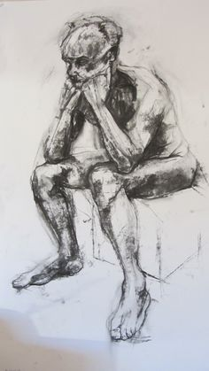 'Bloke', charcoal drawing