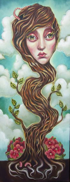 Oil on Canvas Surreal painting by Elizabeth Caffey. Tree