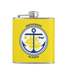 #Flag of Anchorage Alaska Flask - #drinkware #cool #special