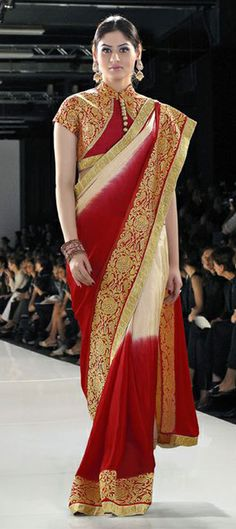 193758: Beige and Brown, Red and Maroon color family Embroidered Sarees, Party Wear Sarees with matching unstitched blouse.