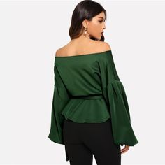 Green Elegant Office Lady Solid Off Shoulder Lantern Sleeve Surplice Peplum Blouse Autumn Workwear Women Tops And Blouses Peplum Blouse, Ruffle Blouse, Green Blouse, Office Ladies, Satin Dresses, Blouses For Women, Work Wear, Couture, Lady