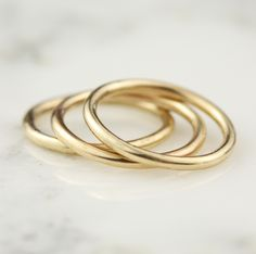 Handmade Set Of 3 1.65mm 14k Solid Yellow Or White Gold Full Round Stacking Band Rings
