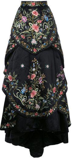 Embroidered full ball skirt.