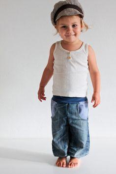 Recyclingjeans blau Karo - petit cochon - Kinderkleidung, die mitwächst. Handarbeit aus Berlin!