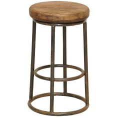 Crafted from reclaimed pine, this striking wood and iron counter stool is the perfect addition to any bar, counter, or breakfast nook. Complete with a distressed-brown finish, this classic-looking stool brings added warmth and ambiance to any space.