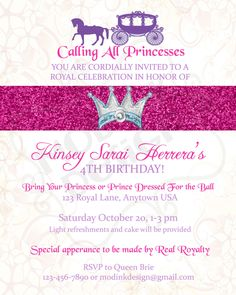 Princess Party Invitation Printable. $15.00, via Etsy.