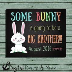 Easter Pregnancy Announcement Chalkboard Poster Printable | Some Bunny | Big Brother | Pregnancy Reveal | Easter | Expecting | Digital File